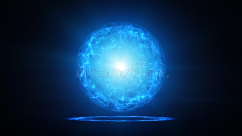 Blue plasma ball with energy charges in studio royalty free illustration
