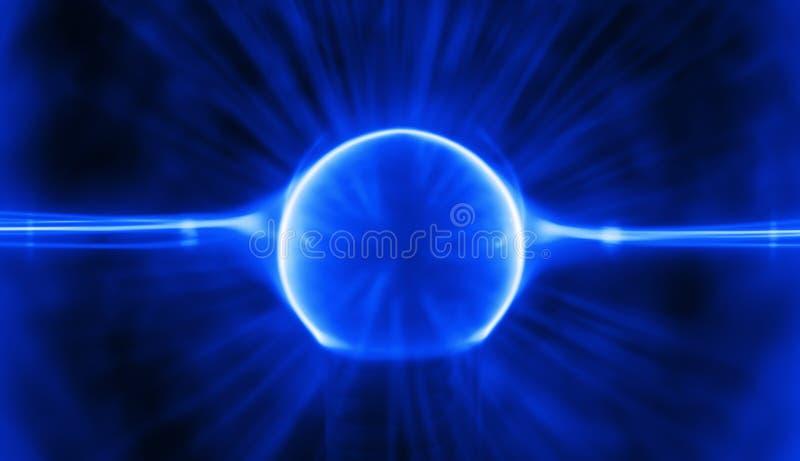 Blue Plasma Charge. Blue plasma rays inside a plasma ball striking through the core stock image