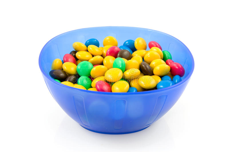 Download Blue Plastic Bowl With Chocolate Candy Stock Photo - Image: 10552754