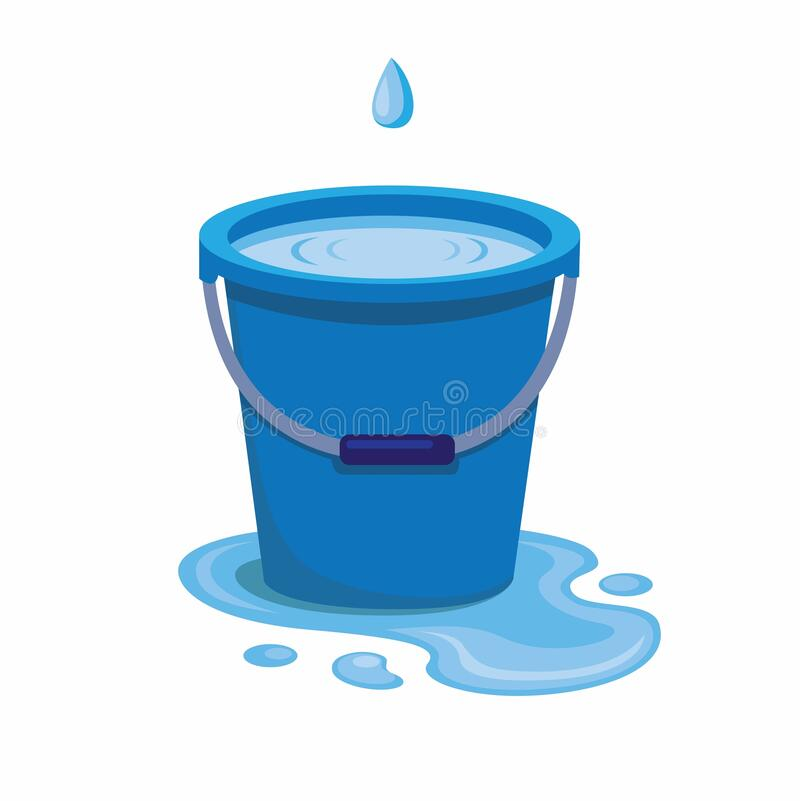 Free Blue Plastic Bucket Filled Water From Trickle Leaking Water Spilled On The Floor, Liquid Container With Handle Isolated With White Royalty Free Stock Photography - 169391747