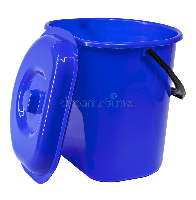 Blue plastic bucket with a lid stock photos