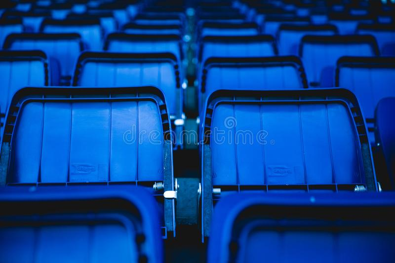 Blue Plastic Chairs stock photos