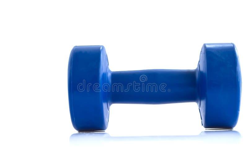 Blue plastic coated dumbells. Isolated on white stock photo