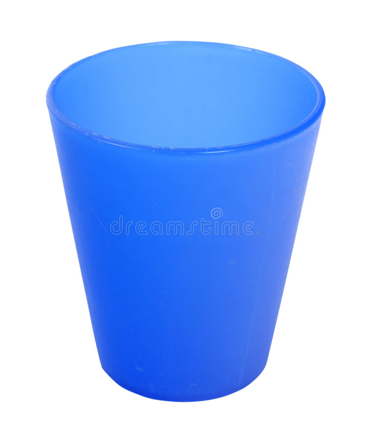 Blue plastic cup stock image