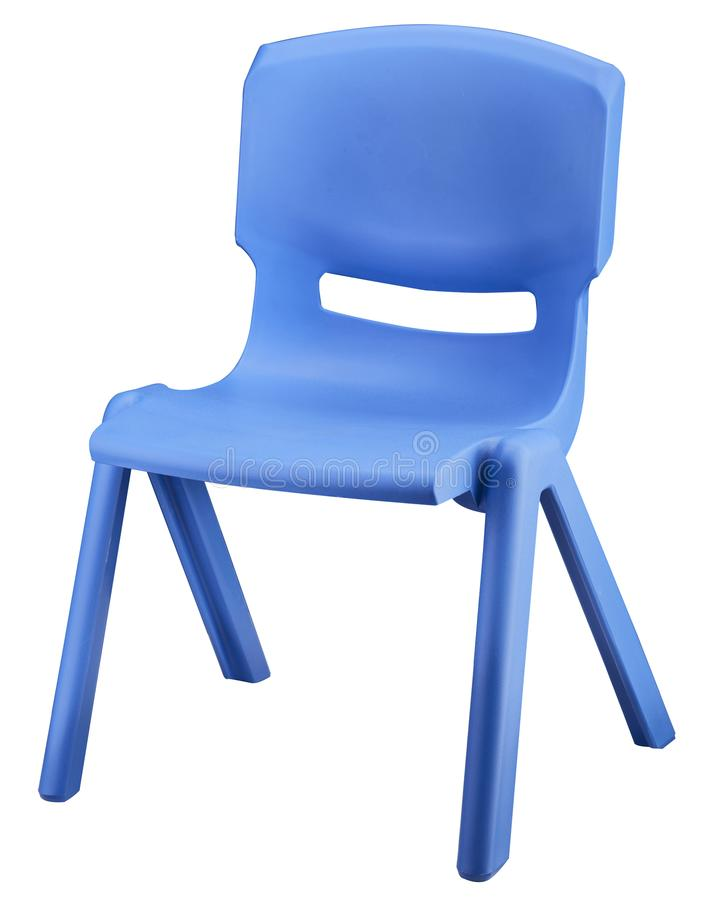 Blue plastic kid chair on white background stock photos