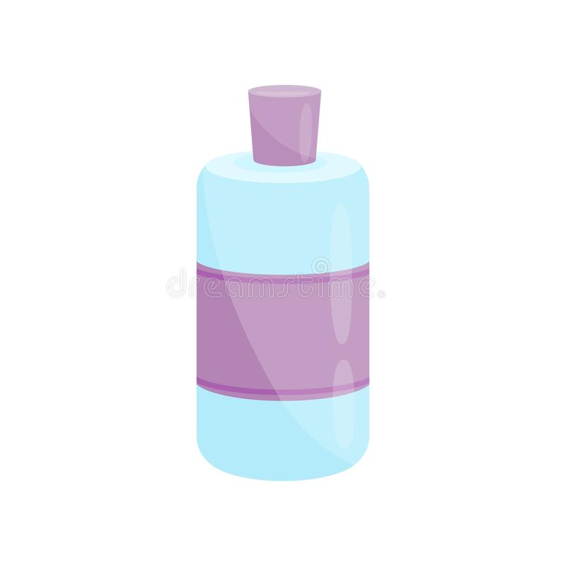 Blue plastic nail polish remover bottle with purple label and lid. Cosmetic product. Beauty theme. Flat vector icon stock illustration