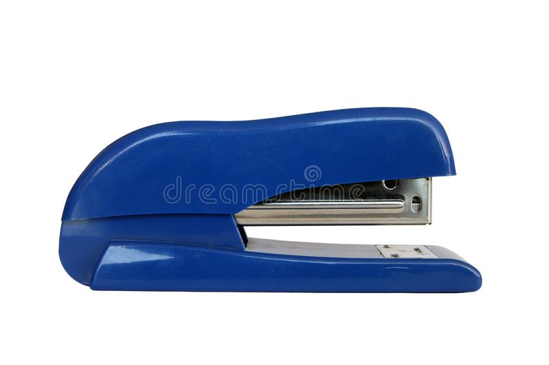 Blue plastic office middle stapler gun closeup foreground isolated on white background royalty free stock photos