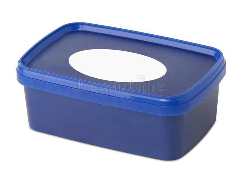 Blue plastic rectangular container stock image