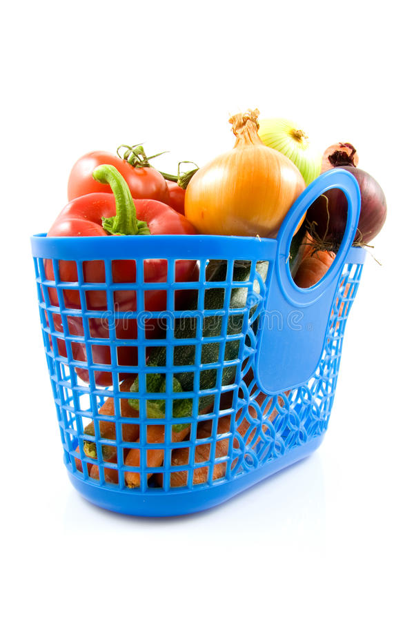 Download Blue Plastic Shopping Bag With Grocery Stock Image - Image: 11807985