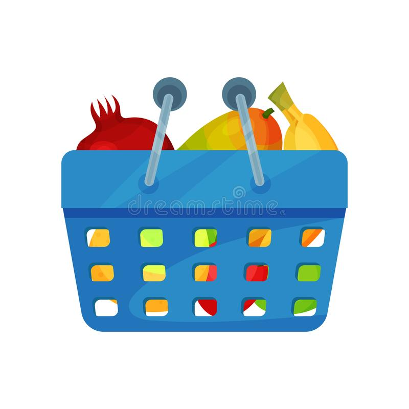 Blue plastic shopping basket full of fresh fruits. Natural and healthy food. Organic products. Flat vector icon royalty free illustration
