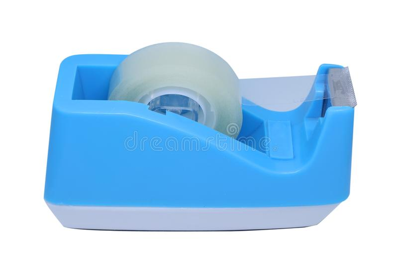 Blue plastic tape dispenser isolated on white background royalty free stock photos
