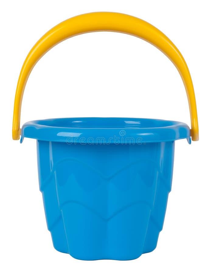 Blue plastic toy bucket. Isolated on white stock image