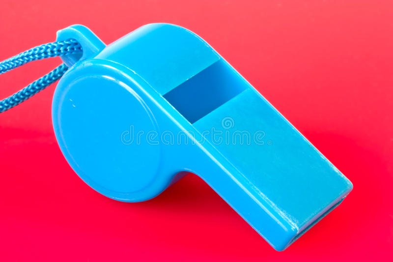 Blue plastic whistle stock photos