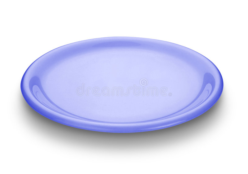 Blue plate. Oval blue plate isolated over white background stock photos