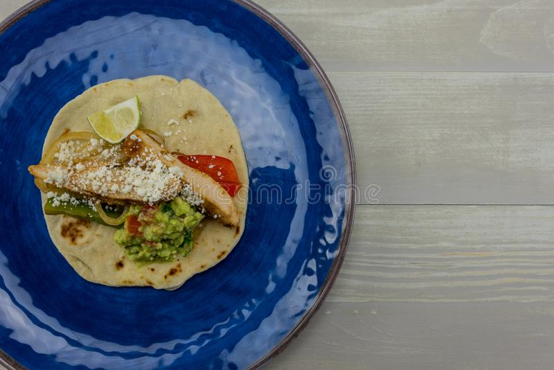 Blue Plate with Fajita and Copy Space royalty free stock images