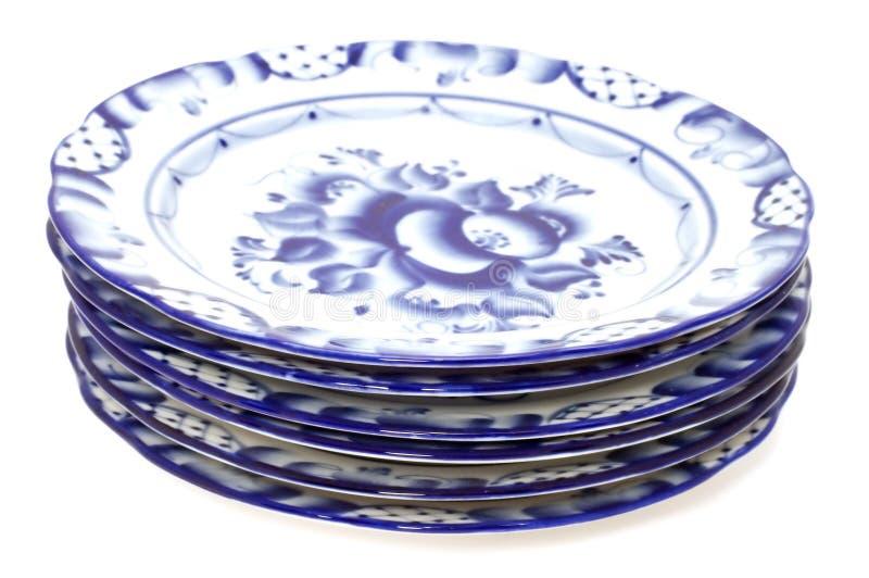 Blue plates royalty free stock photo