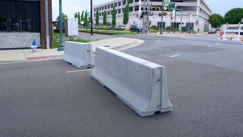 Blue Plum Festival - Traffic Barriers. Johnson City, Tennessee United States 06-02-2018 Traffic barriers stock images