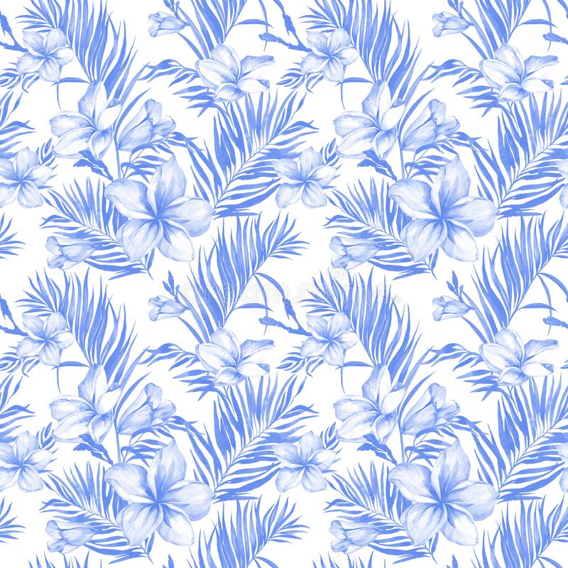 Blue plumeria flowers and exotic palm leaves in seamless tropical pattern. White background. Watercolor painting. Hand drawn and painted floral illustration royalty free illustration