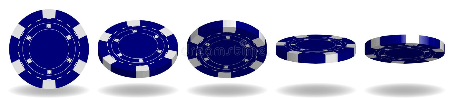 Blue poker chips vector. 3D Realistic Set. Flip different angles. Plastic poker chips sign isolated on white background royalty free illustration