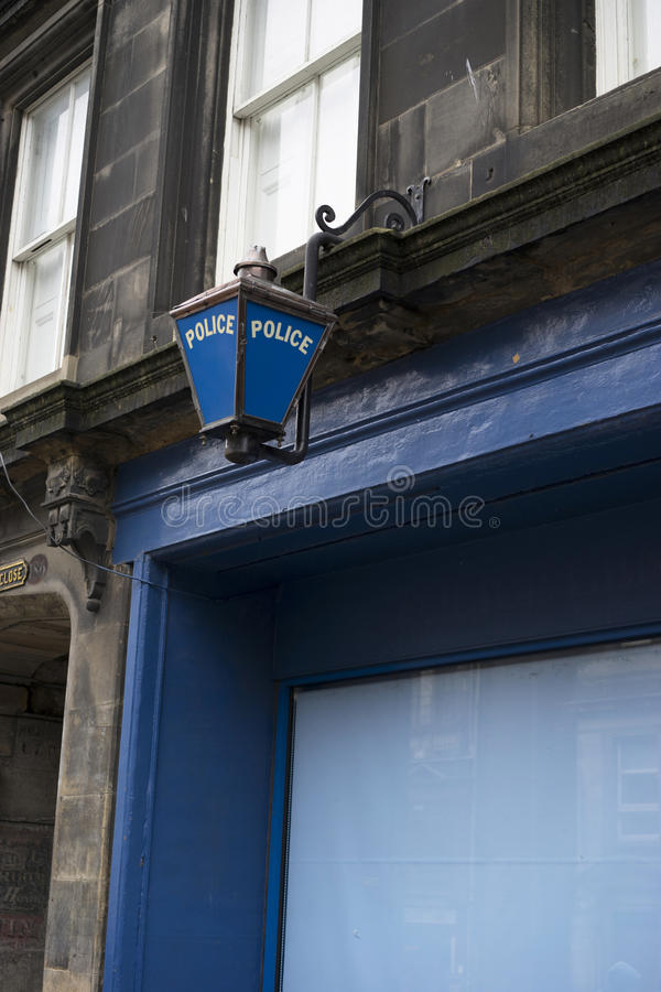 Blue police station lamp stock photo