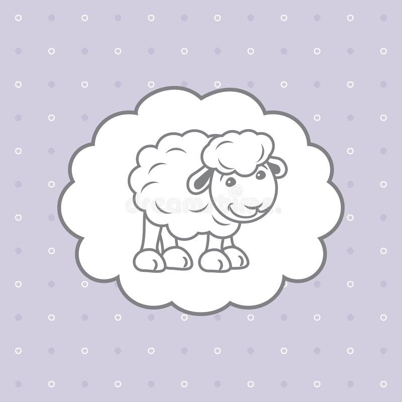 Blue polka dots background with cute baby sheep stock images