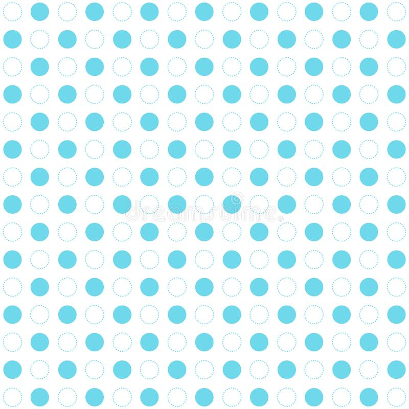 Blue polka dots seamless pattern on white background. Retro circles geometric dashed lines. royalty free illustration