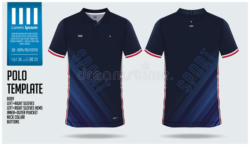 Blue Polo shirt sport template design for soccer jersey, football kit or sportswear. Sport uniform in front view and back view. stock illustration
