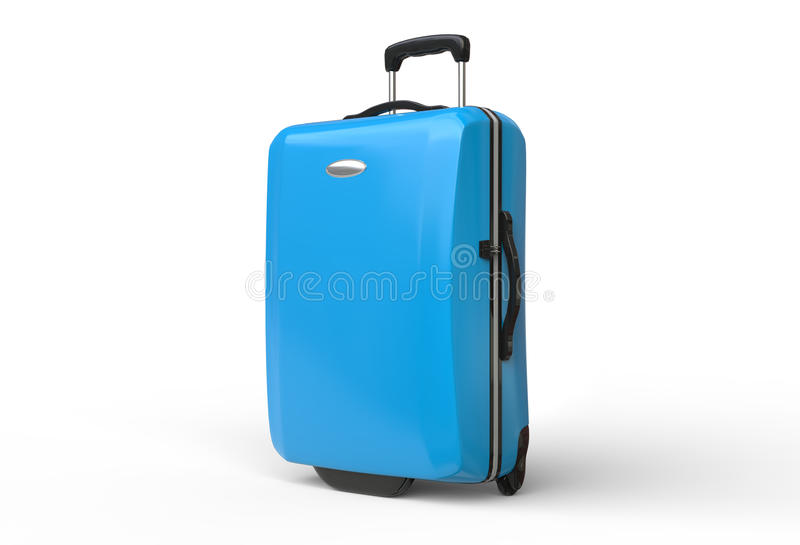 Blue polycarbonate travel baggage suitcase on white background royalty free stock photography