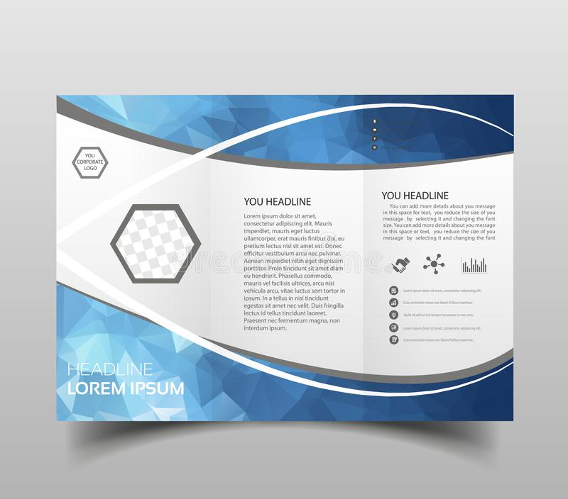 Blue polygon elegance business trifold business Leaflet Brochure Flyer template vector minimal flat design set. Modern triangle pr vector illustration