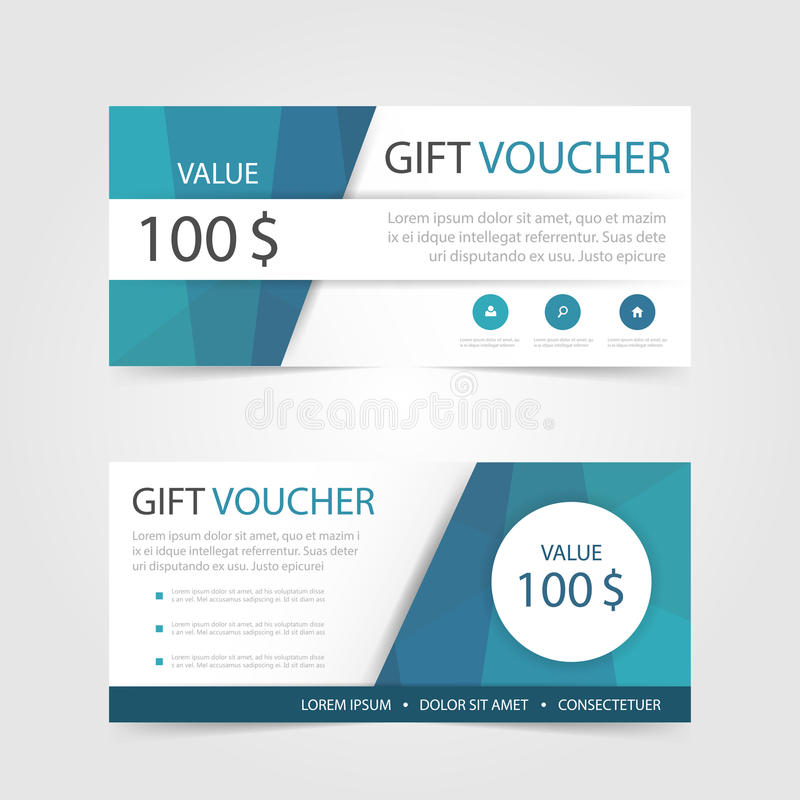 Blue polygon Gift voucher template with colorful pattern,cute gift voucher certificate coupon vector illustration