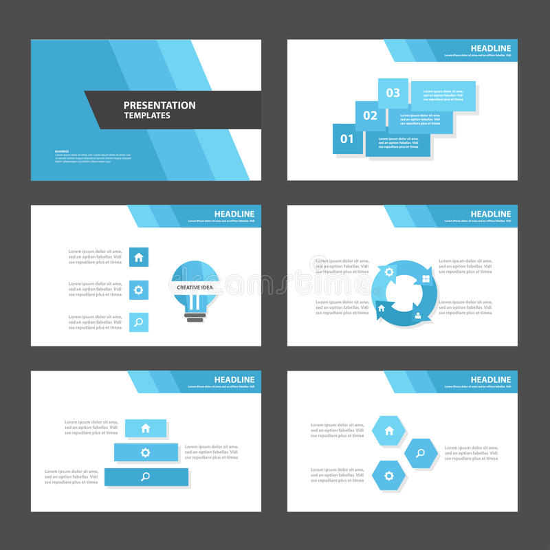 Blue polygon 2 presentation template Infographic elements and icon flat design vector illustration
