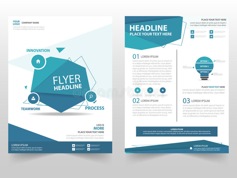 Blue polygon vector Brochure Leaflet Flyer template design, book cover layout design, abstract business presentation template, a4 royalty free illustration