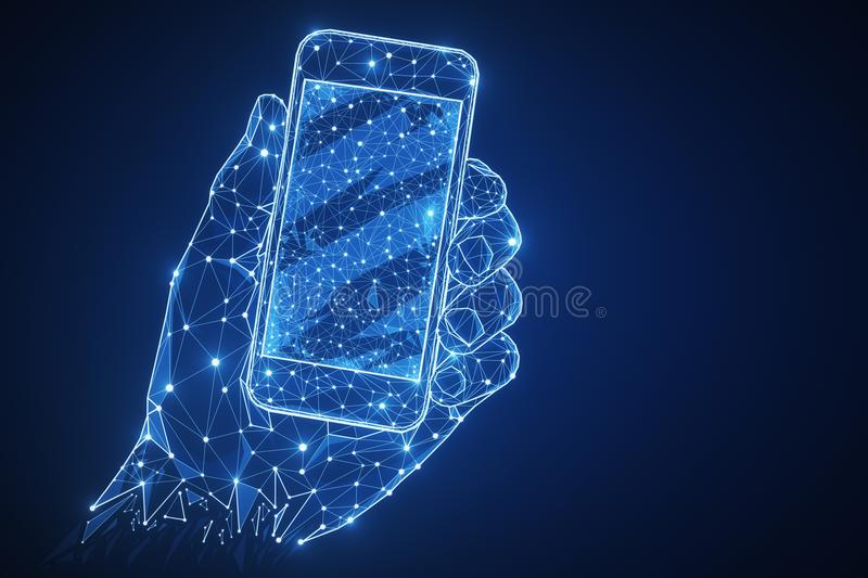 Blue polygonal hand with smartphone royalty free illustration