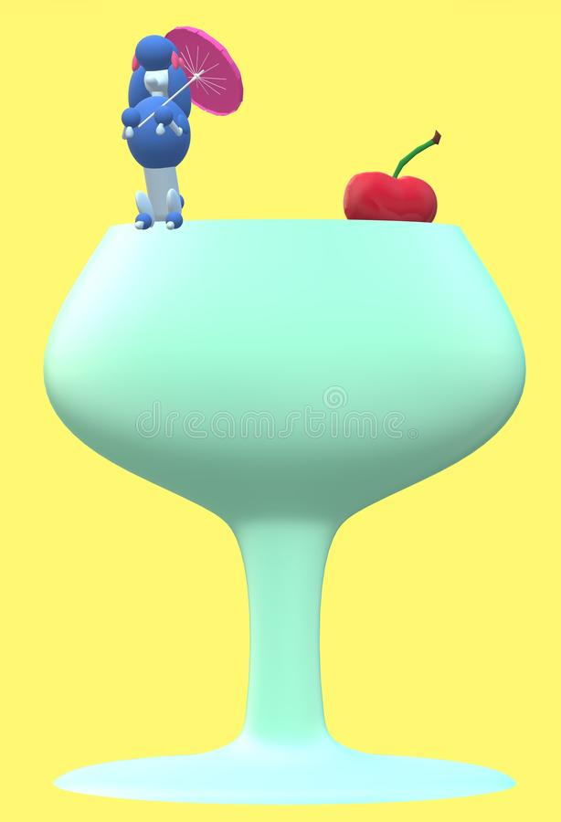 A blue poodle holding a pink umbrella sitting on a giant cherry wine glass royalty free stock image
