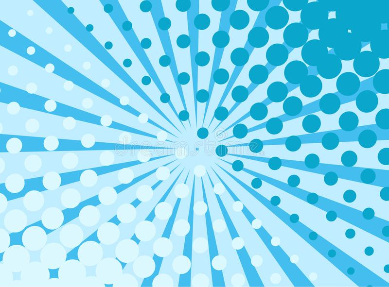 Blue pop art retro background with exploding rays and dots comic stock illustration