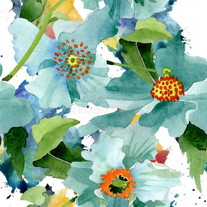 Blue poppy floral botanical flower. Watercolor background illustration set. Seamless background pattern. stock illustration
