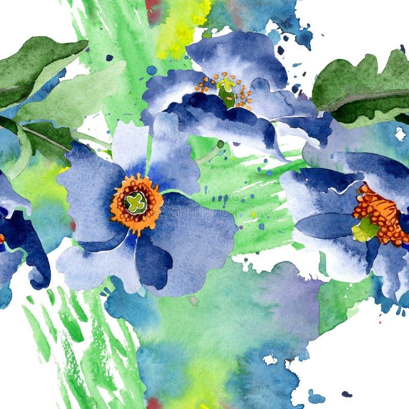 Blue poppy floral botanical flowers. Watercolor background illustration set. Seamless background pattern. stock illustration