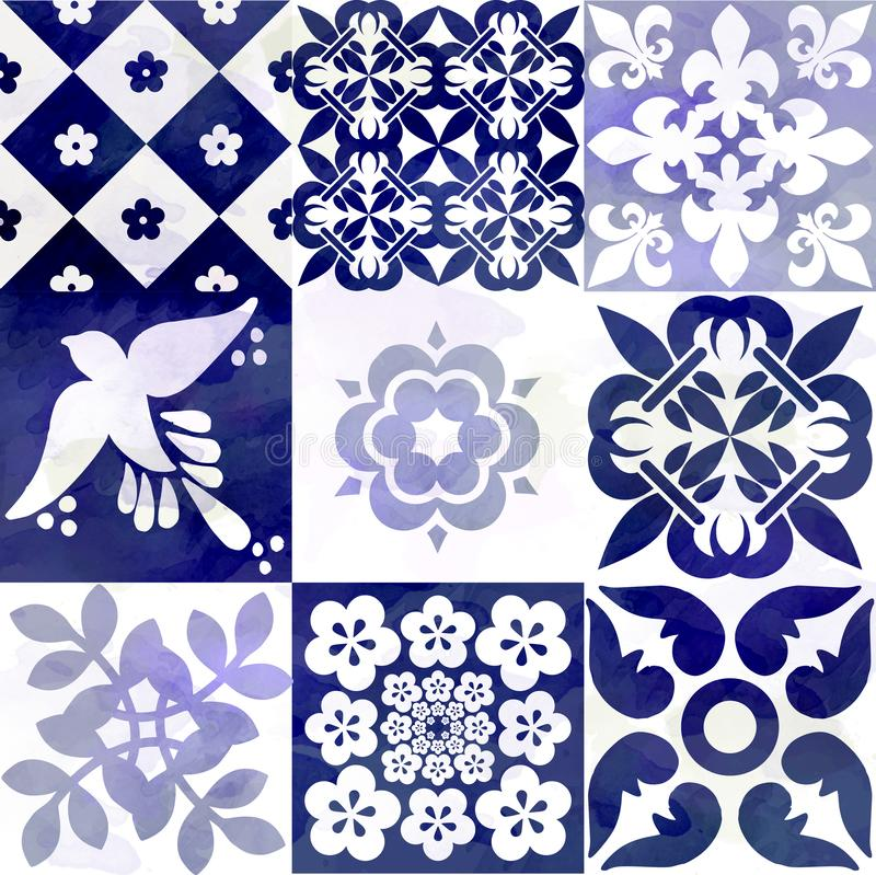 Blue Portuguese tiles pattern - Azulejos fashion interior design tiles stock illustration