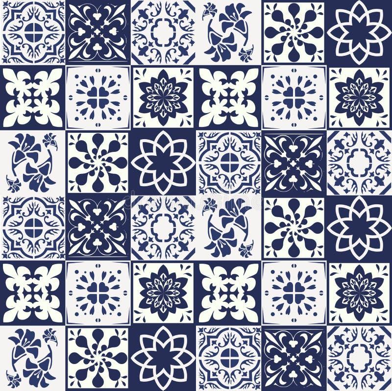 Blue Portuguese tiles pattern - Azulejos vector, fashion interior design tiles stock illustration