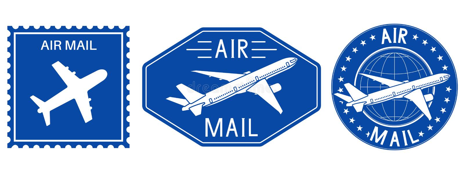 Blue postal stamps. Air mail sign with plane royalty free illustration