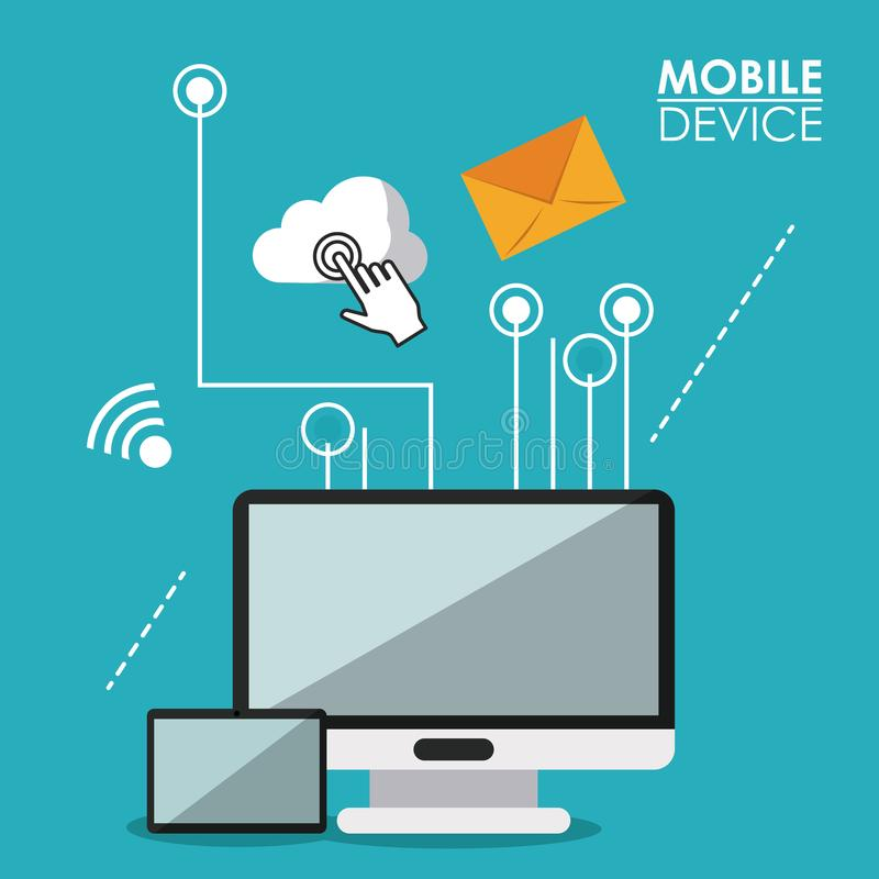 Blue poster mobile device with desktop computer and tablet and link to common icons. Vector illustration stock illustration