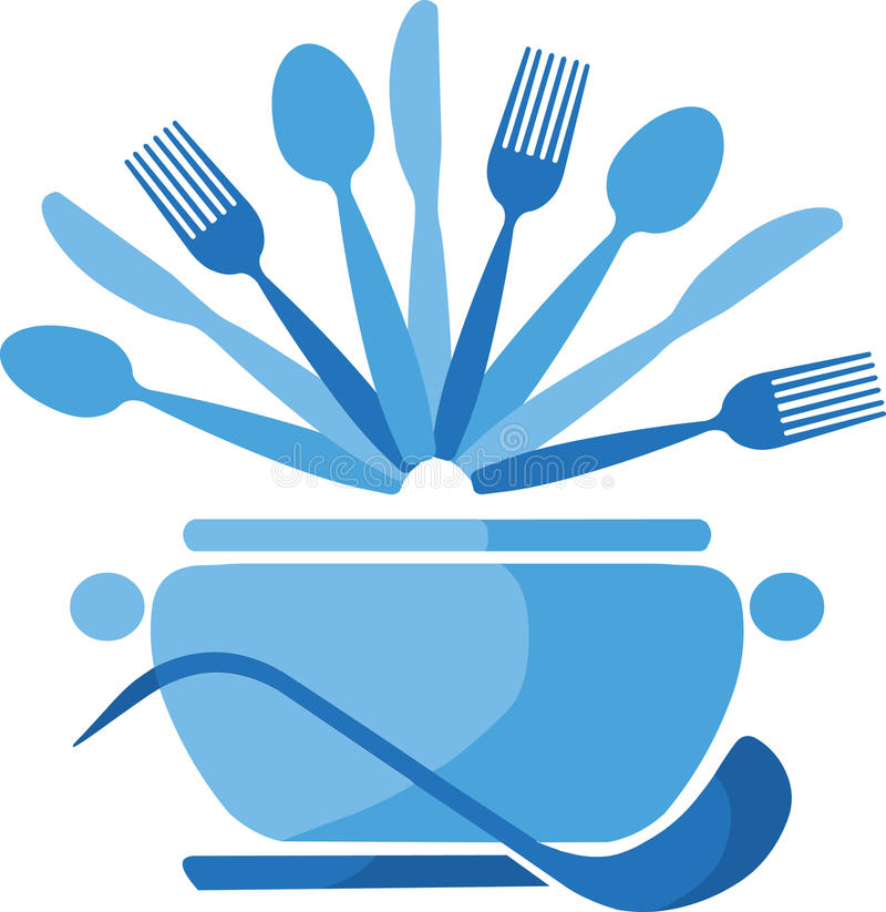 Download Blue Pot With Spoons And Forks -1 Stock Vector - Image: 14857658