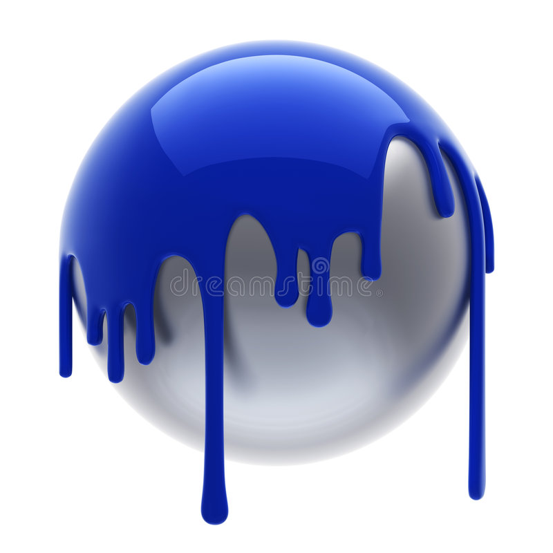 Blue poured ball. Blue poured steel ball isolated royalty free illustration