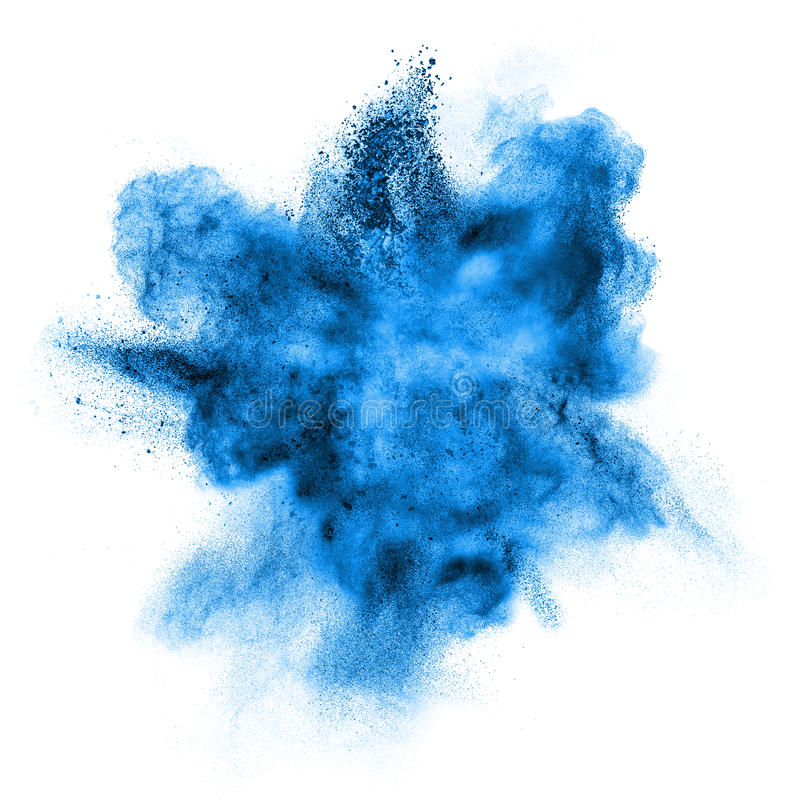 Blue powder explosion isolated on white stock photography