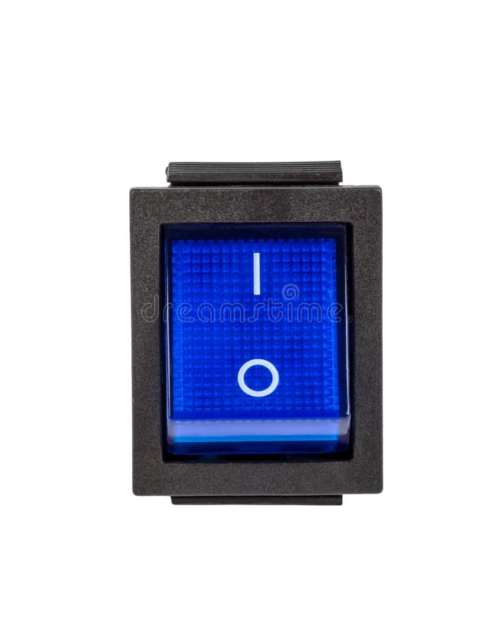 Blue power switch on white background royalty free stock photos