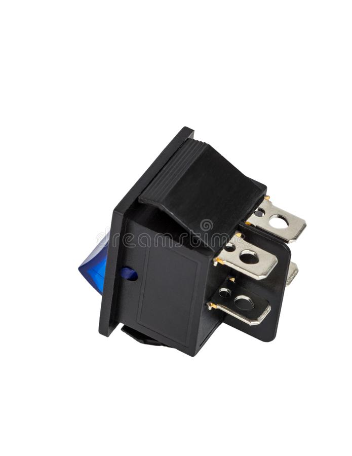 Blue power switch on white background royalty free stock images