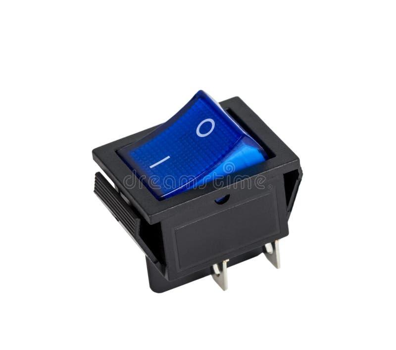 Blue power switch on white background stock photo