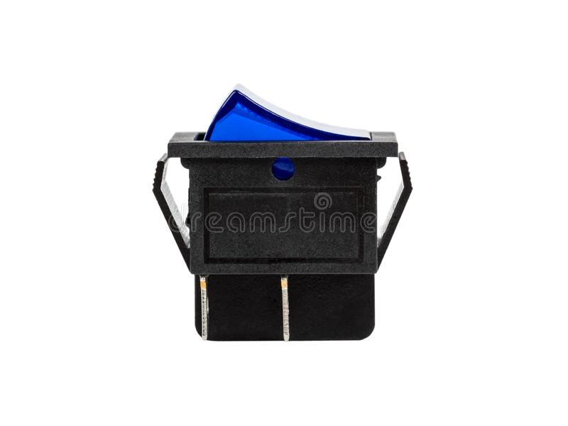 Blue power switch on white background royalty free stock photo