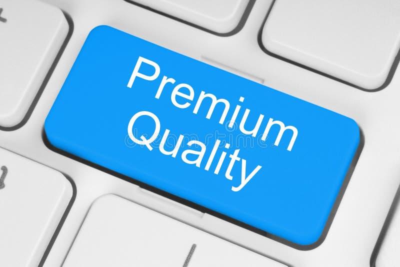 Blue premium quality button stock photo