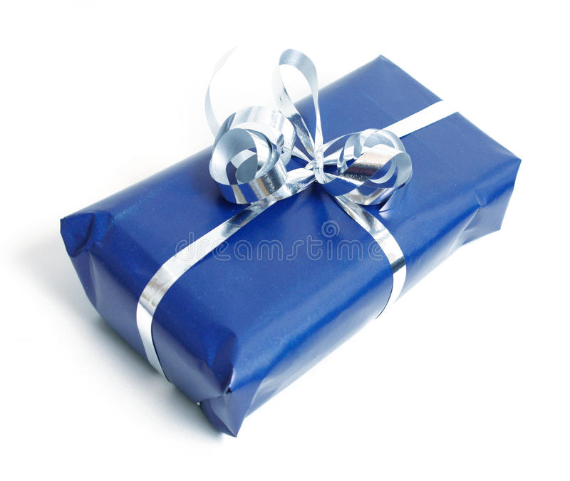 Blue present royalty free stock photos